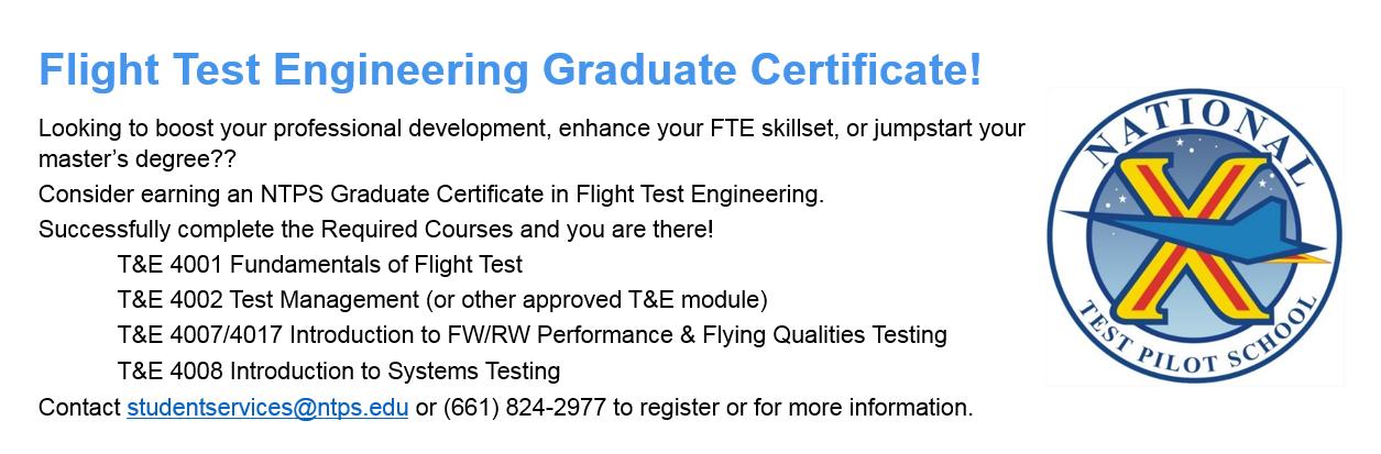Flight Test Engineering Graduate Certificate!